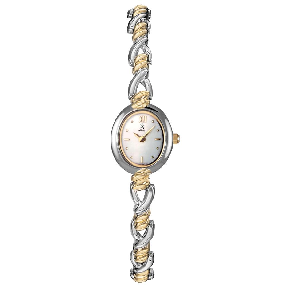 Allurez Women's Mother of Pearl Dial Two-Tone Bracelet Watch