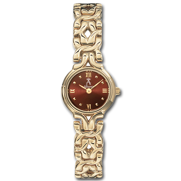Allurez Burgundy Dial Stud Marker Fashion Watch for Women Swiss