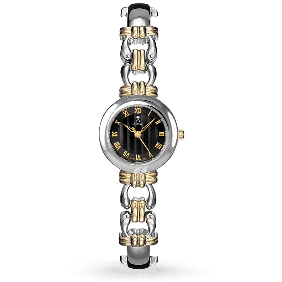 Allurez Women's Black Dial Roman Numeral Two-Tone Bracelet Watch