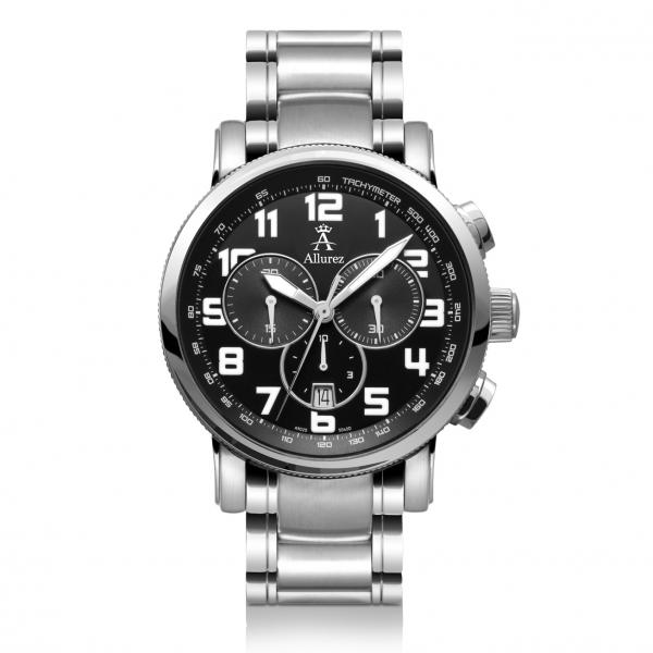 Allurez Men's Stainless Steel Black Dial Chronograph Swiss Made Watch