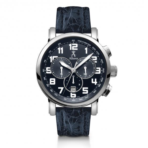 Allurez Men's Blue Crocodile Strap Swiss Chronograph Watch