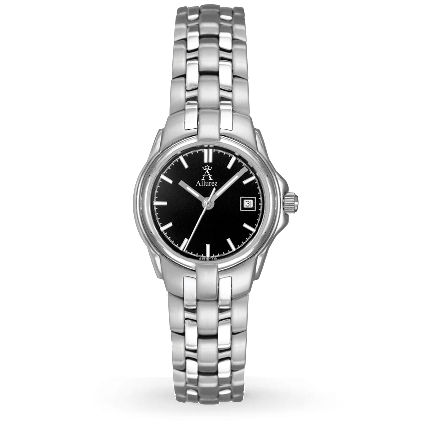 Allurez Women's Black Dial Stainless Steel Luminous Watch