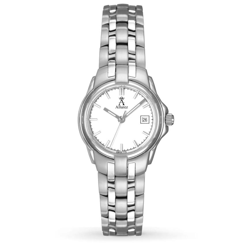 Allurez Women's White Dial Stainless Steel Luminous Watch