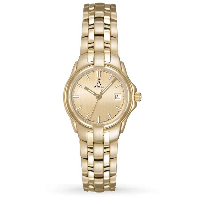 Allurez Women's Gold Dial Stainless Steel Luminous Watch