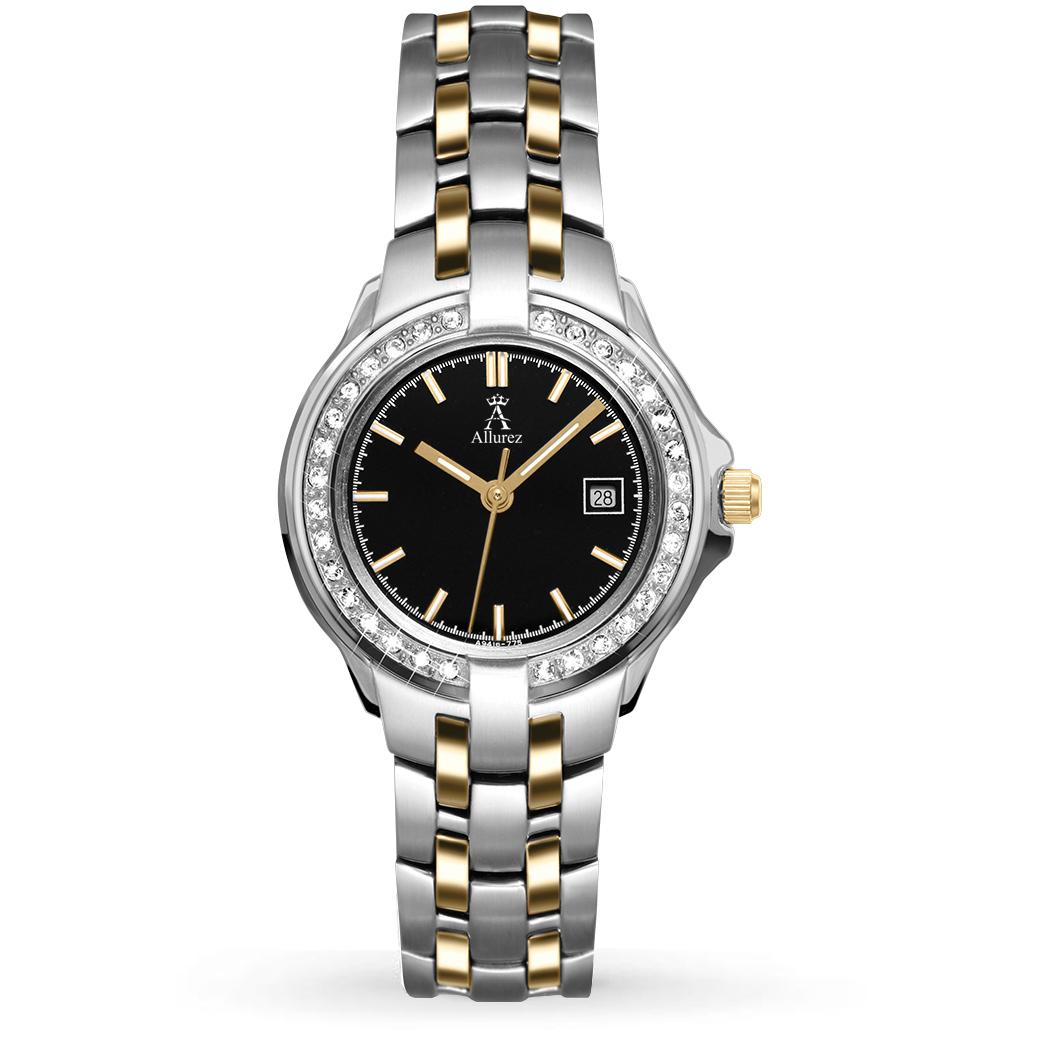Allurez Women's Swarovski Crystal Accented Two-Tone Watch