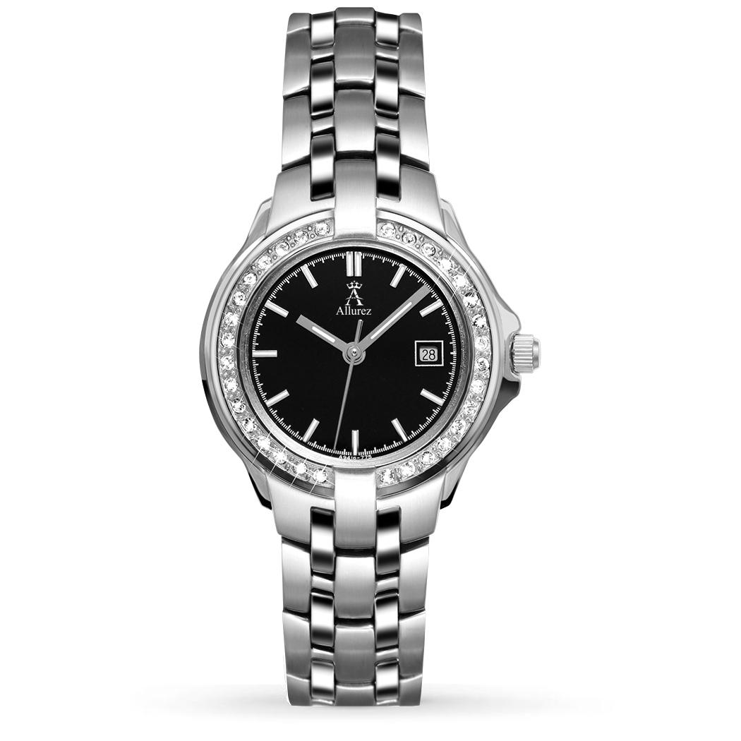 Allurez Women's Swarovski Crystal Accented Stainless Steel Watch