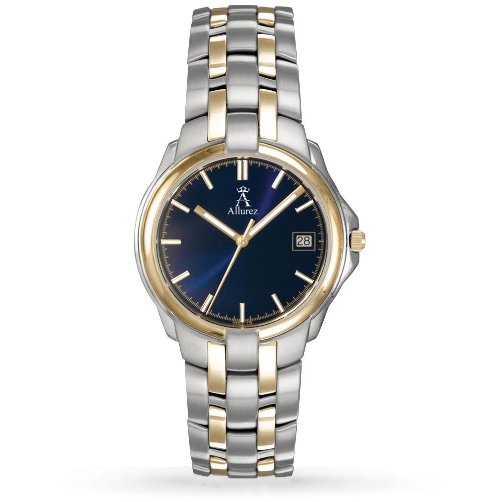 Allurez Women's Blue Dial Two-Tone Stainless Steel Watch
