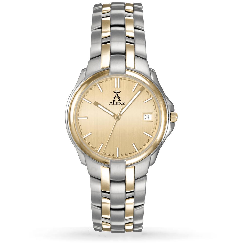 Allurez Women's Gold Dial Two-Tone Stainless Steel Watch