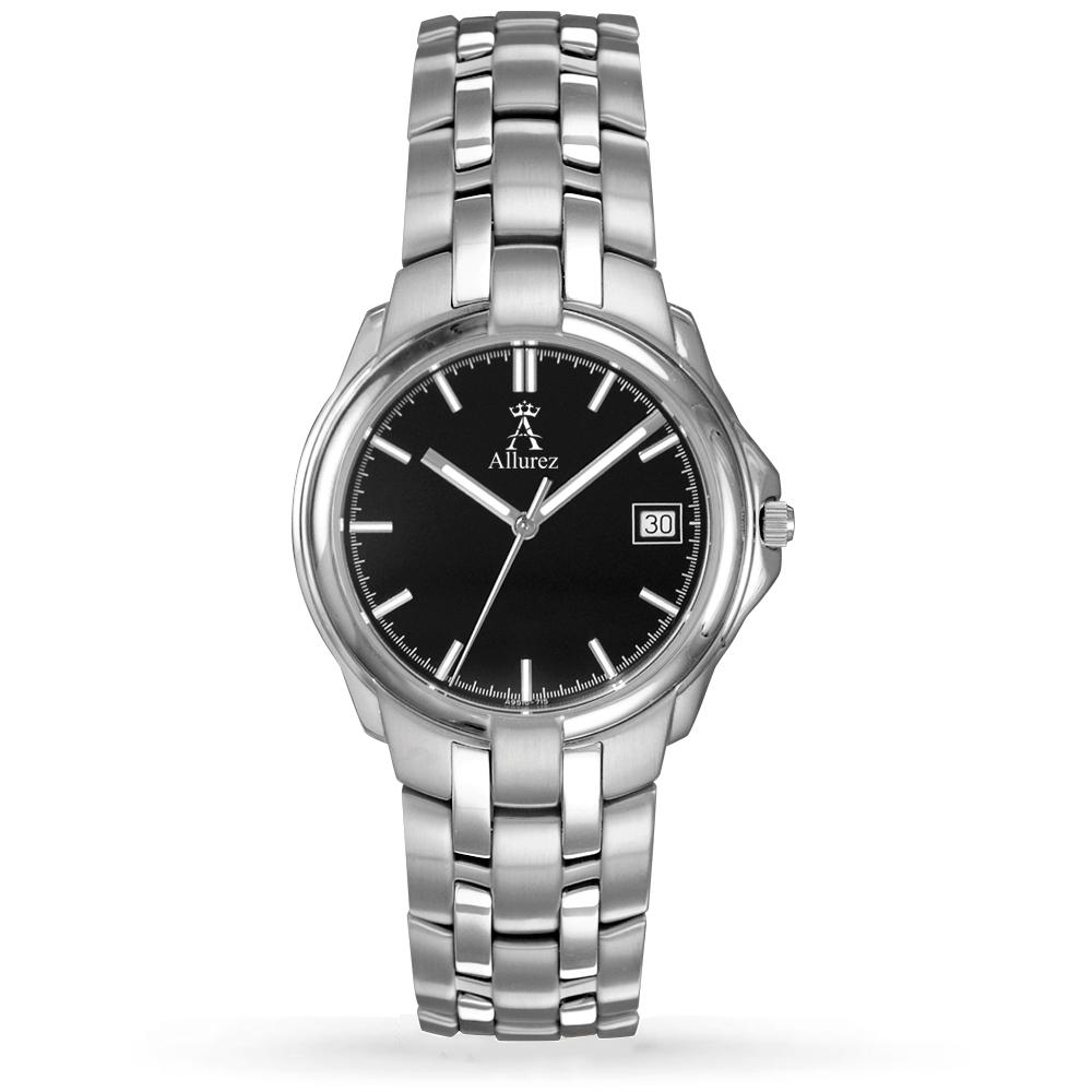 Allurez Men's Black Luminous Dial w Date Stainless Steel Watch