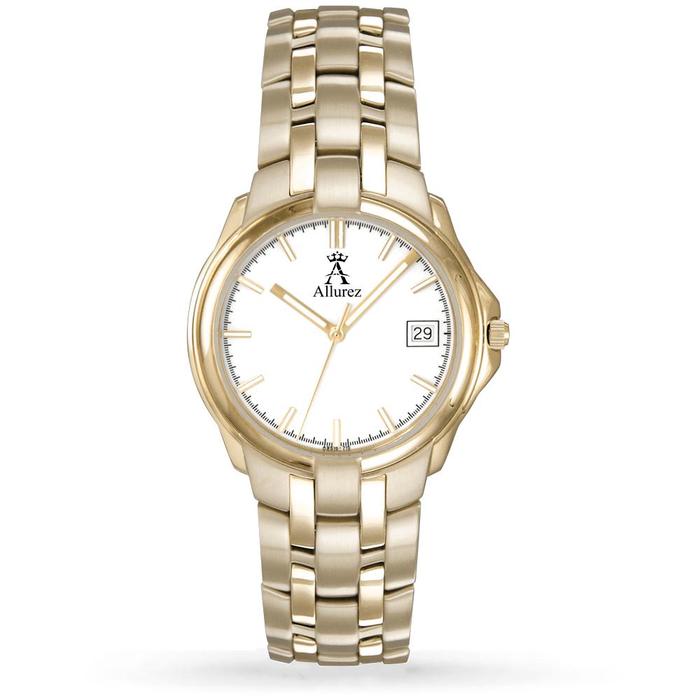 Allurez Men's White Dial Luminous Gold-tone Stainless Steel Watch