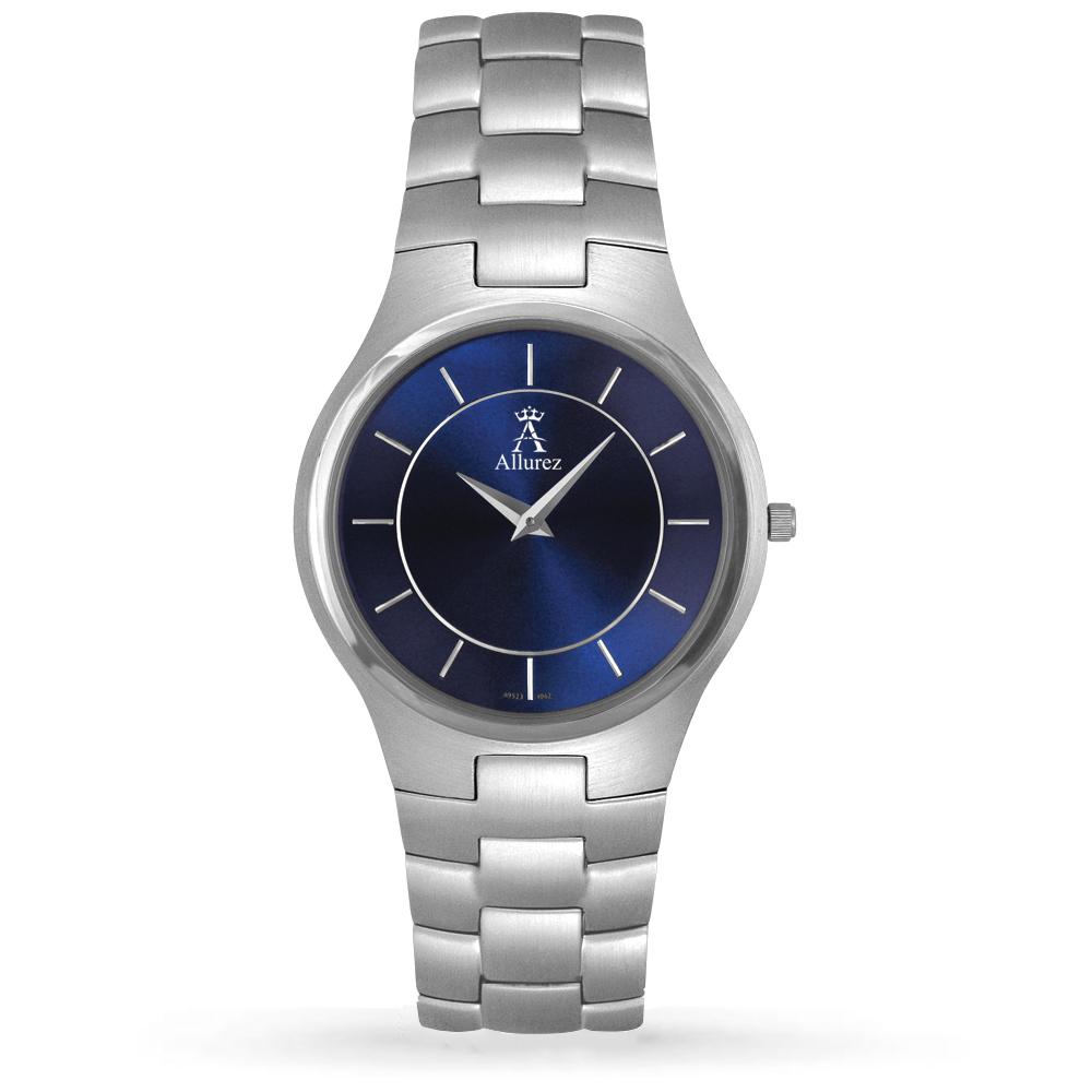 Allurez Men's Blue Dial Stainless Steel Analog Watch