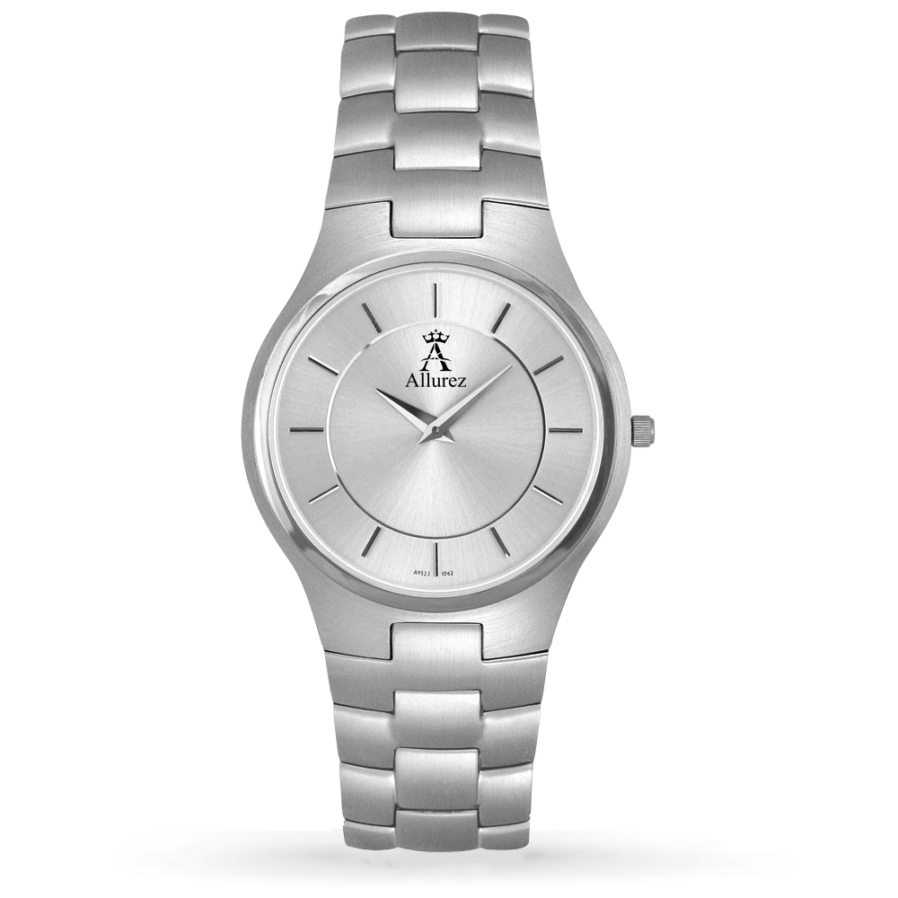 Allurez Men's Silver Dial Stainless Steel Analog Watch