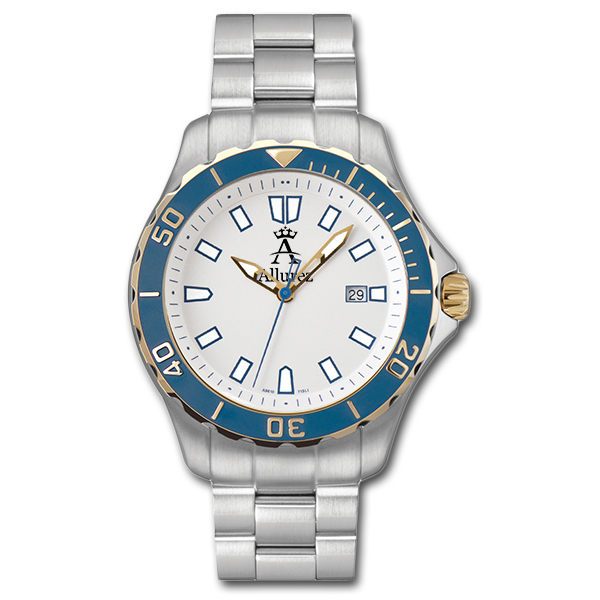 Allurez Men's Long-Life Rotating-Bezel Luminous Blue Diver Watch