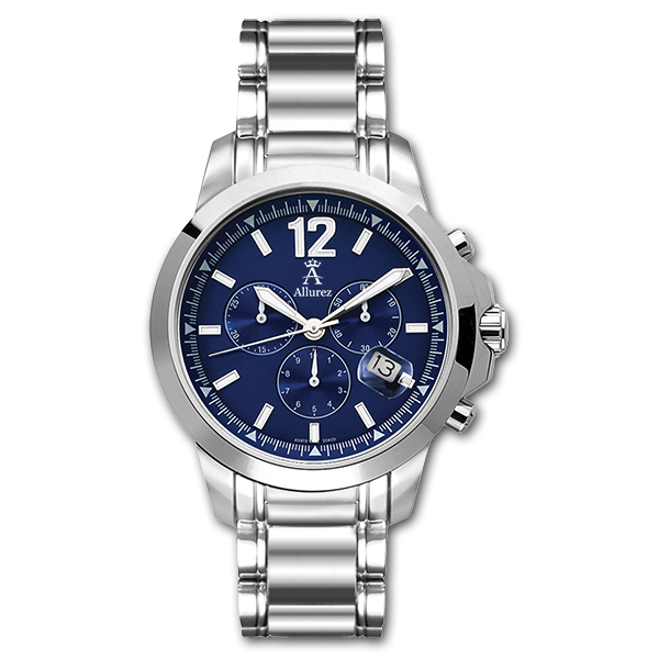 Allurez Men's Stainless Steel Classic Chronograph Wrist Watch Swiss