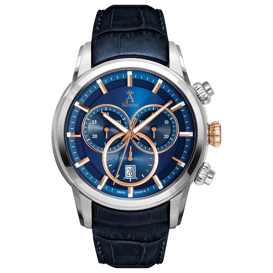 Allurez Men's Swiss Chronograph Blue Dial Luminous Leather Watch