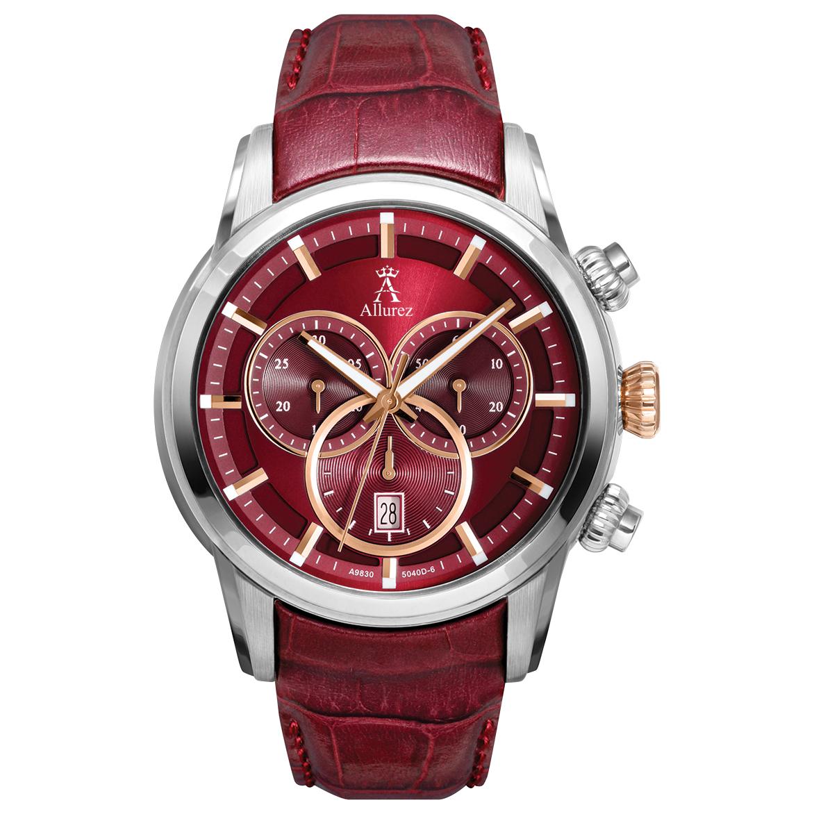 Allurez Men's Swiss Chronograph Burgundy Dial Luminous Leather Watch