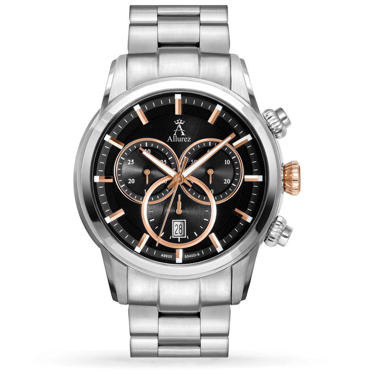 Allurez Men's Swiss Chronograph Luminous Stainless Steel Watch