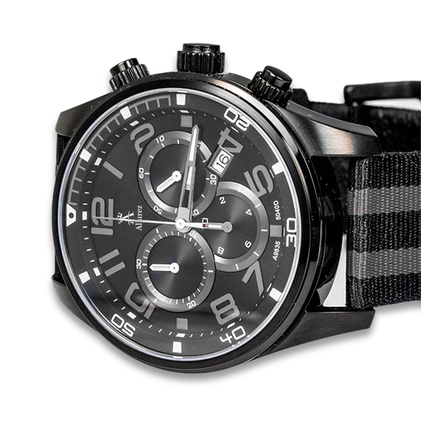 Allurez Carbon Fiber Dial Black & Silver Canvas Sports Chronograph Watch