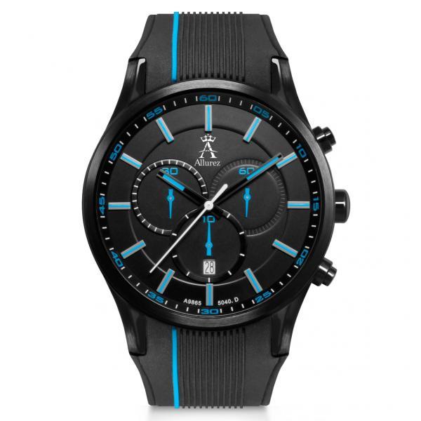 Allurez Men's Swiss Chronograph Stainless Steel Rubber Strap Watch