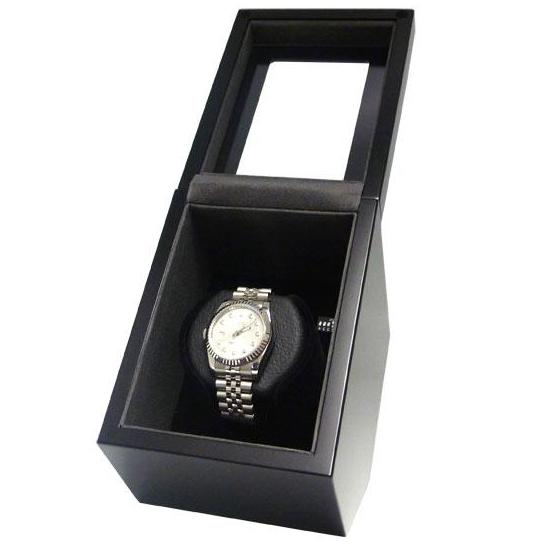 Single Automatic Watch Winder Box in Matte Black Finish