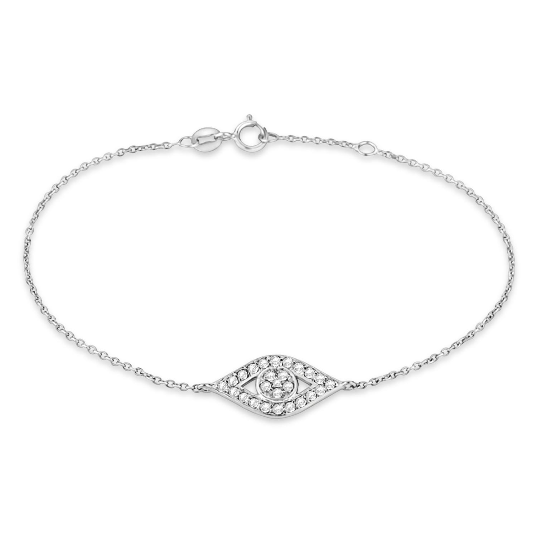Evil Eye Diamond Ankle Bracelet in 14k White Gold (0.42ct)