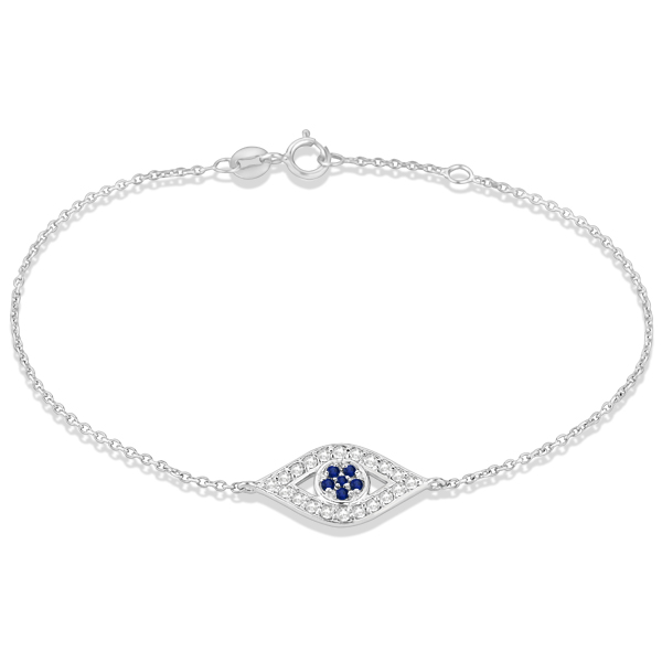 Blue Sapphire Evil Eye Diamond Ankle Bracelet in 14k White Gold (0.42ct)