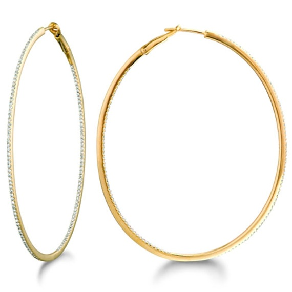 Inside-Outside Pave Oval Diamond Hoop Earrings 14k Yellow Gold (0.65ct)