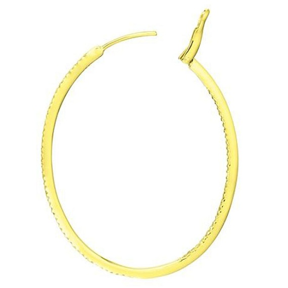 Inside-Outside Pave Oval Diamond Hoop Earrings 14k Yellow Gold (0.50ct)