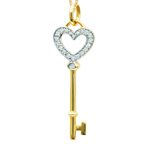 Diamond Heart Key Pendant Necklace in 14k Yellow Gold (0.10 ct)