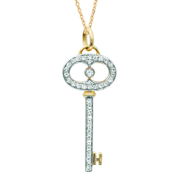 Diamond Key Pendant Necklace in 14k Two Tone Gold (0.20ct)