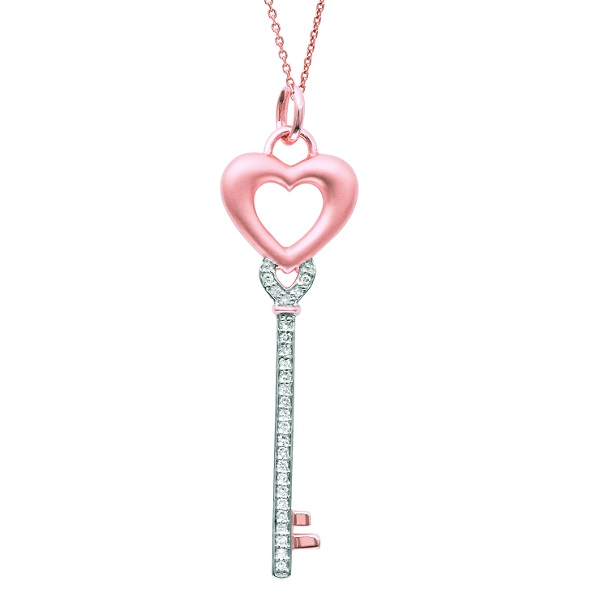 Diamond Heart Key Pendant Necklace in 14k Rose Gold (0.10ct)