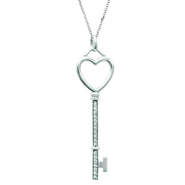 Diamond Heart Key Pendant Necklace in 14k White Gold (0.09 ct)