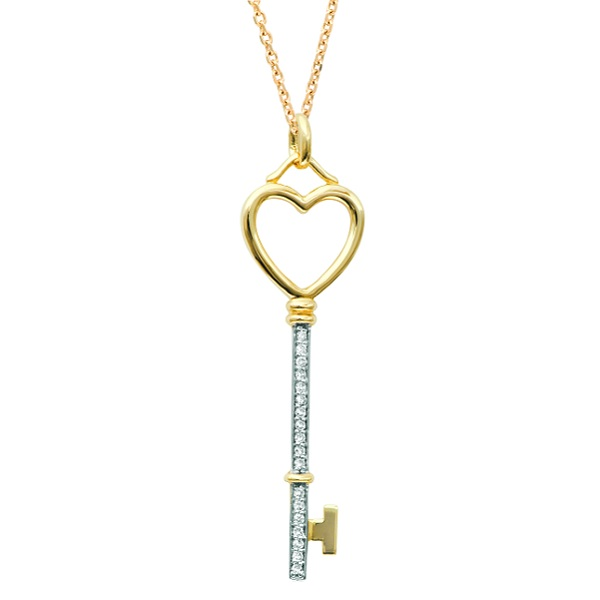 Diamond Heart Key Pendant Necklace in 14k Two Tone Gold (0.09 ct)