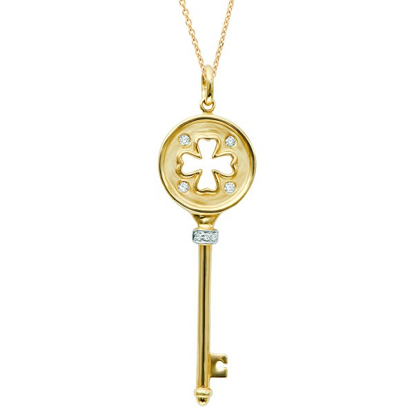 Diamond Clover Key Pendant Necklace in 14k Yellow Gold (0.07 ct)