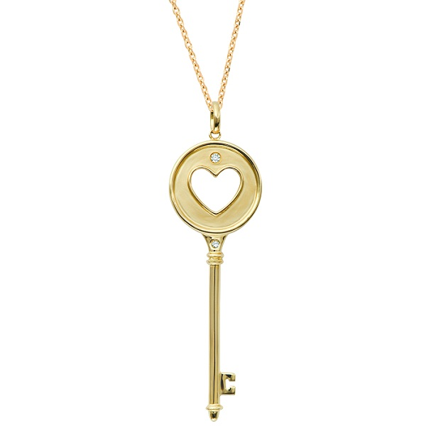 Diamond Heart in Circle Key Pendant Necklace 14k Yellow Gold (0.06ct)