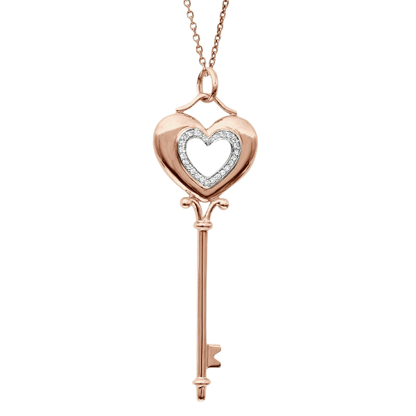 Diamond Puffed Heart Pendant Necklace in 14k Rose Gold (0.15ct)