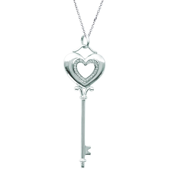 Diamond Puffed Heart Pendant Necklace in 14k White Gold (0.15ct)