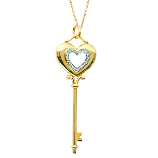 Diamond Puffed Heart Pendant Necklace in 14k Yellow Gold (0.15ct)
