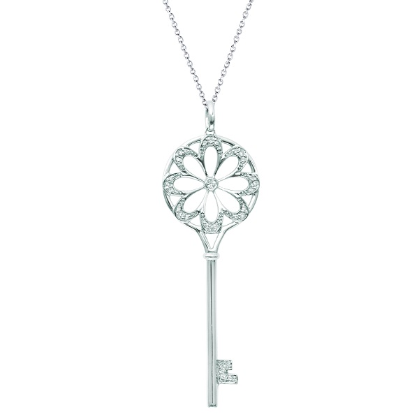 Diamond Flower Circle Key Pendant Necklace 14k White Gold (0.16ct)