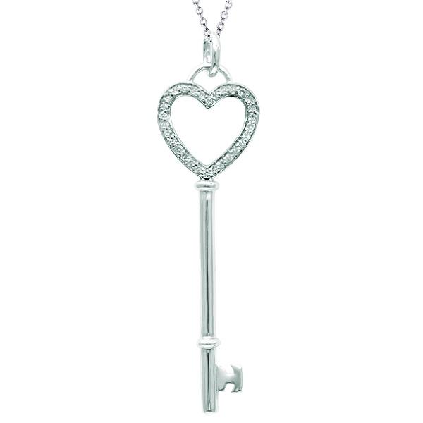 Diamond Open Heart Key Pendant Necklace 14k White Gold (0.12ct)