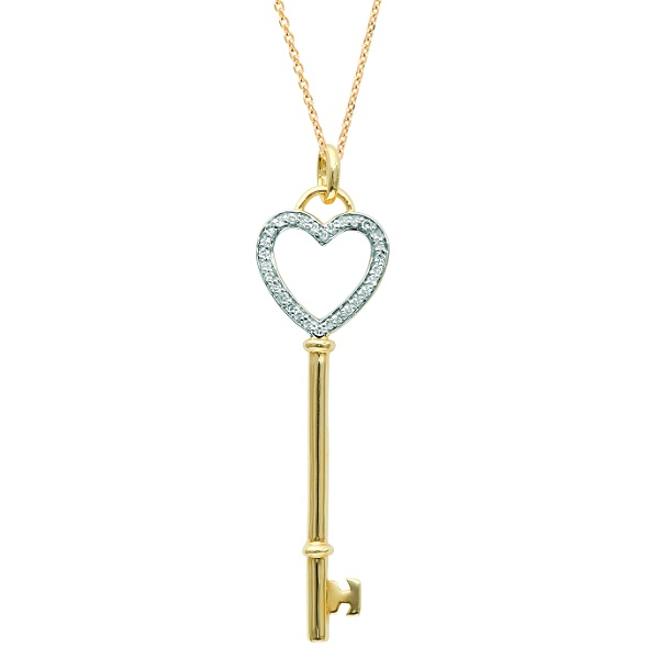 Diamond Open Heart Key Pendant Necklace 14k Yellow Gold (0.12ct)