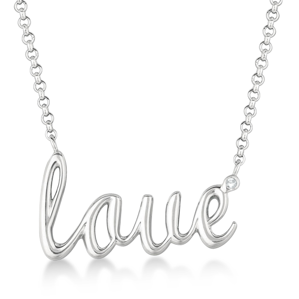 "Sterling Silver ""Love"" Diamond Pendant Necklace (0.01ct)"