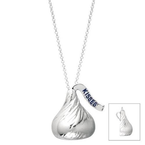 Hershey's Kiss Extra Large Flat Back Pendant Necklace 14k White Gold