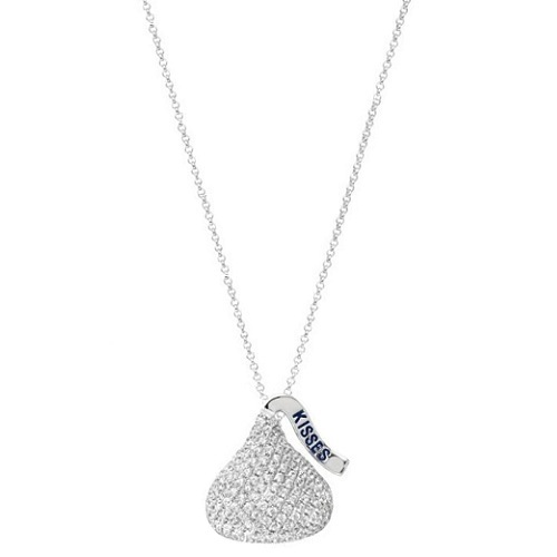 Hershey's Kiss Pendant 3D Necklace 14k White Gold (0.50ct)
