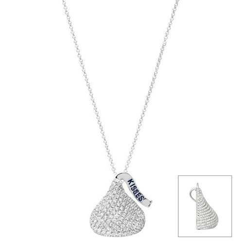 Hershey's Kiss Pendant Flat Back Necklace 14k White Gold (0.25ct)