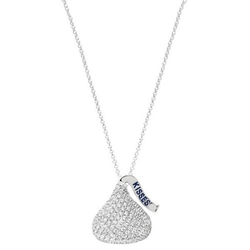 Hershey's Kiss Pendant 3D Necklace 14k White Gold (1.15ct)