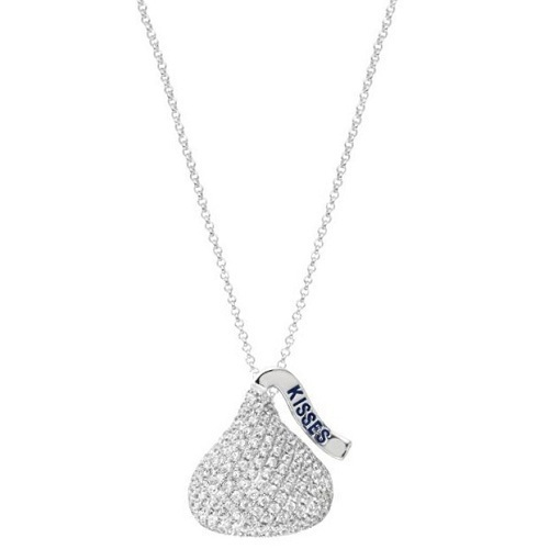 Hershey's Kiss Pendant 3D Necklace 14k White Gold (1.60ct)