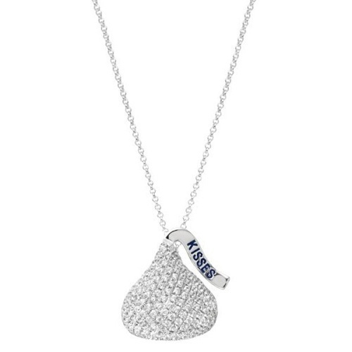 Hershey's Kiss Pendant 3D Necklace 14k White Gold (2.25ct)