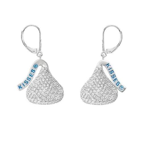 Hershey's Kiss Flat Back Lever Back Earrings 14k White Gold (0.50ct)