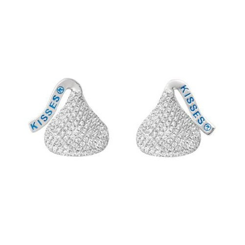 Hershey's Kiss Flat Back Stud Earrings 14k White Gold (0.50ct)